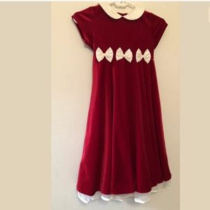 Rate Editions girls size 6 velvet maxi dress red